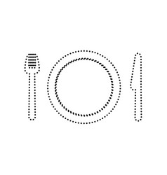 fork plate and knife black dotted icon vector image