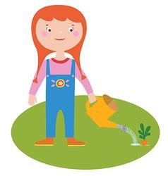 Girl gardener character vector image