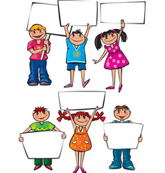 Kids holding blank placard boards vector image vector image