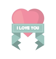 pink heart i love you ribbon vector image