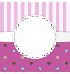 Pink stripped greeting card template with hearts vector image