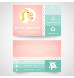 Retro business card set template with flat user vector image vector image
