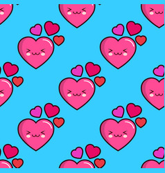 seamless pattern of smiling hearts on blue vector image vector image