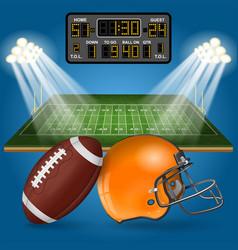 american football field with scoreboard vector image