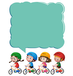 frame template with kids on bicycle vector image vector image