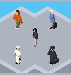 Isometric human set of lady seaman girl and vector
