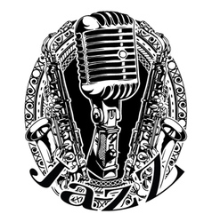 Music frame with microphone and saxophone vector