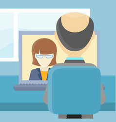 Rear view closeup of a man on the computer vector