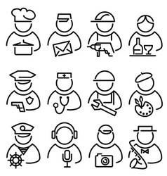 set line peoples icons vector image vector image