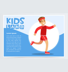 Smiling sportive boy running kids land banner vector