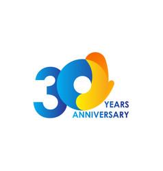 30 years anniversary celebration blue yellow vector