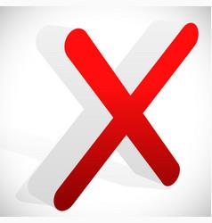 3d red cross x letter x shape vector
