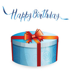 A gift box and inscription happy birthday vector