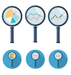 analytic icons - magnifying glass set symbol vector image