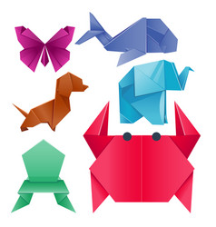 Animals origami set japanese folded modern vector