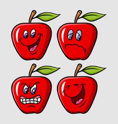 Apple emoticon icon cartoon character vector