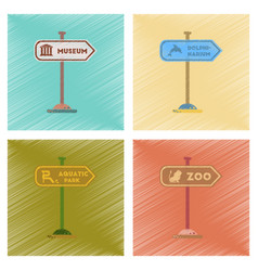 Assembly flat shading style icons sign aquatic zoo vector