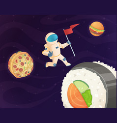 astronaut on food planet fantasy space world with vector image