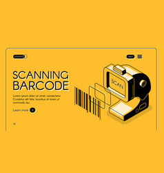 barcode scanning service website template vector image