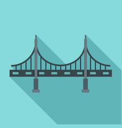 big metal bridge icon flat style vector image