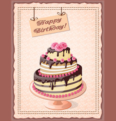 Birthday card with cake tier and roses vector