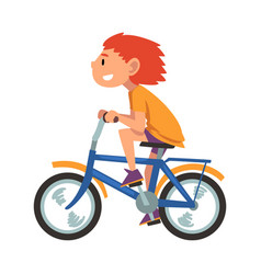 boy riding bike teenager bicyclist summer vector image