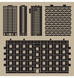 Buildings set with block houses vector image
