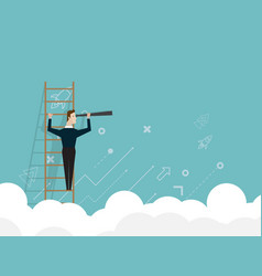 Businessman standing on ladder and use telescope vector