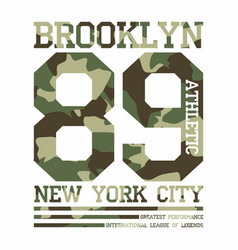 Camouflage typography for t-shirt print new york vector