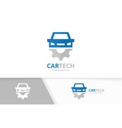 car and gear logo combination vehicle and vector image