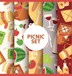 cartoon basket picnic with food drinks and vector image
