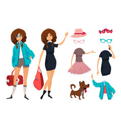 character of hipster young girl with glasses vector image