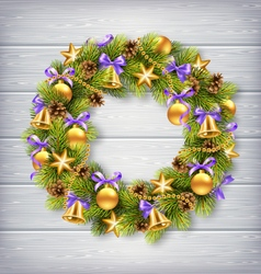 Christmas wreath with pine branches christmas vector