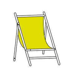 Color silhouette image wooden chair for beach vector