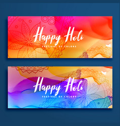 Colorful happy holi banners set vector