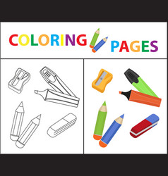 Coloring book page back to school set marker vector