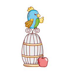 cute animals parrot on cage with apple nature vector image