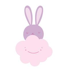 cute pink rabbit face cartoon cloud vector image