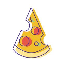 Delicious slice pizza unhealthy fast food vector