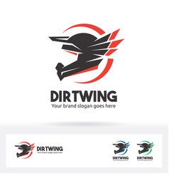 Dirt wing helmet motorcycle logo vector