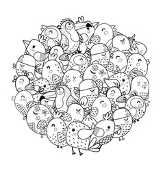 Doodle birds circle shape pattern for coloring vector