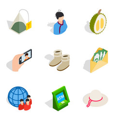 female company icons set isometric style vector image