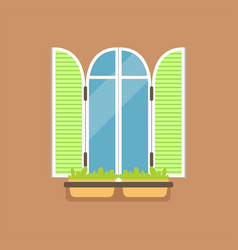 flat window with green shutters and potted flowers vector image