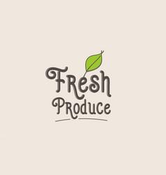 Fresh produce word text typography design logo vector