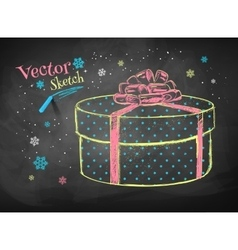 Gift box on chalkboard background vector image