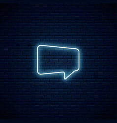 Glowing neon empty speech bubble frame trapezoid vector