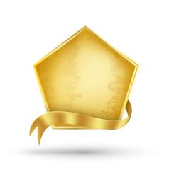 gold billboard and gold ribbon vector image