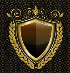 gold shield emblem vintage icon vector image
