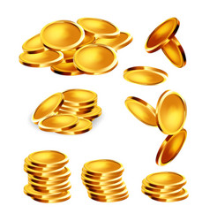 golden coin stack heap and falling set vector image