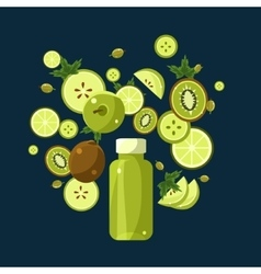 Green Smoothie Recipe of Ingredients vector